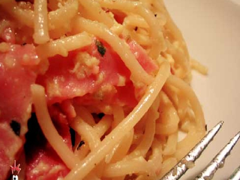 Spaghettini with Lemon  Ham and Cream picture