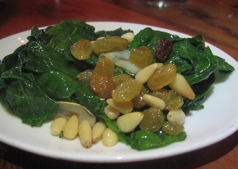 Spinach with Pine Kernels and Sultanas picture