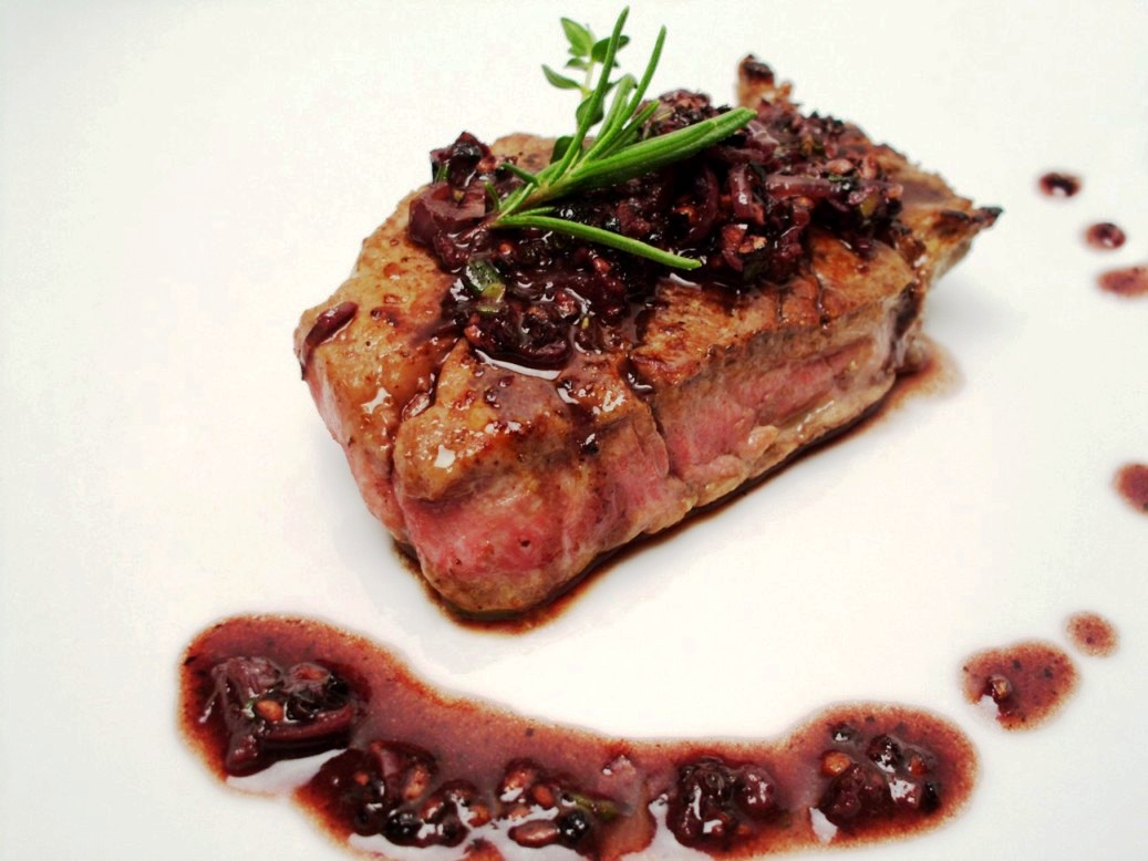 Steak with Rosemary-Thyme Cabernet Peppercorn Sauce picture