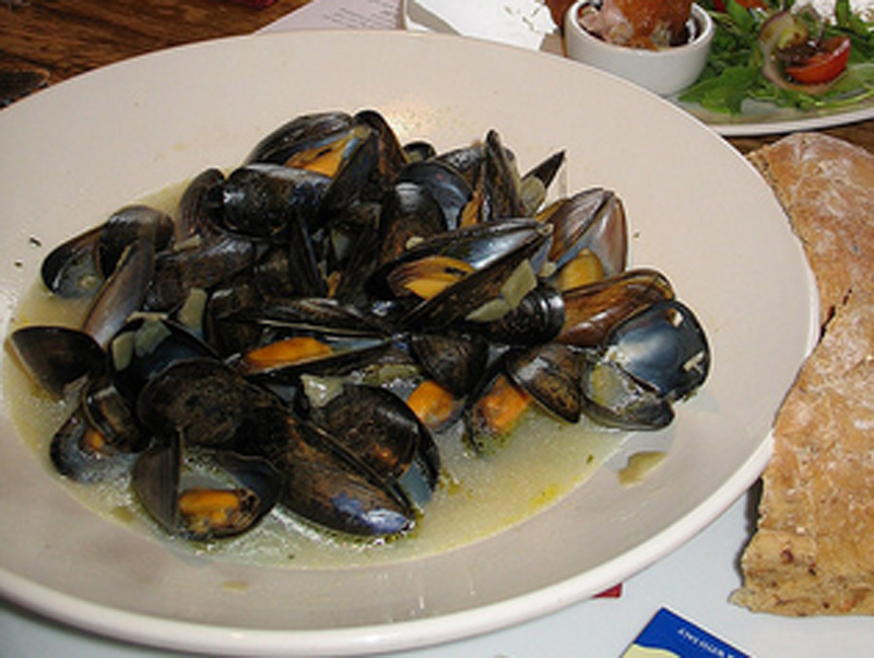 Steamed Mediterranean Mussels with Cinnamon Basil Ouzo and Feta Cheese picture