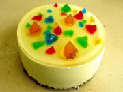 Rainbow Gummy Diamond Cheesecake