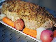Grilling Stuffed Pork Loin In A Cedar Plank Tray With Vegetables