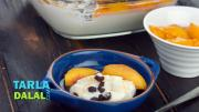 Lemon Souffl With Chocolate Boondi And Peaches 1018305 By Tarladalal