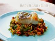 Halibut With Chorizo Broccoli Orzo Stevescooking
