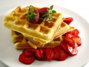 Waffles With Strawberry Sauce