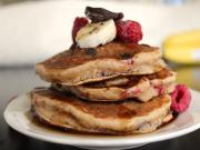 How To Make Banana Chocolate And Raspberry Pancakes