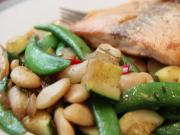 Hello Fresh Seared Salmon With Warm Butter Beans Snap Pea Salad