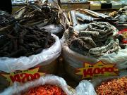 Dry seafood market.