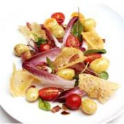 Potato, Pancetta and Plum Tomato Salad with Grana Padano Curls