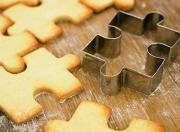 Cookie-cutters can be used to decorate the cake.