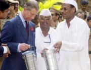 Prince Charles with the Mumbai Dabbawalas