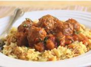 Mini Lamb Meatballs in a Spicy Eggplant Tomato Sauce