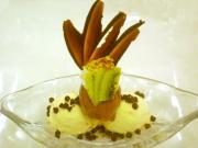 Avocado Pistachio Ice Cream with Chocolate Sauce