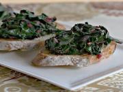 Spicy Beet Green Crostini