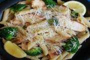 Lemon broccoli pasta served with chicken