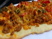 Crispy Flat Bread with Chorizo Sausage, Peppers, and Caramelized Onion
