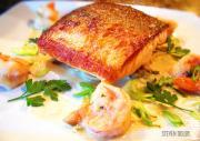 Pan Seared Salmon with Mushroom in Creamy Sauce
