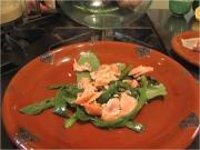Green Salad with Smoked Salmon and Pine nut Hummus