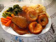Roast Beef with mash, carrots, beans, Yorkshire Pudding and Gravy