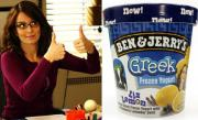 Tina Fey immortalized in the Ben & Jerry's new yogurt flavor.