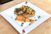 Seared Avocado Cake with Sumac Peach Salsa and Chipotle Carrot Coulis