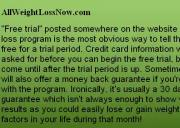 Truth About Free Weight Loss Programs