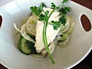Poached Halibut with Fennel Cucumber Mint Salad