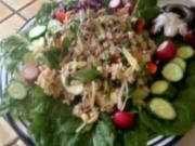 Thai Chicken Salad With Crispy Rice. Healthy Chicken Salad