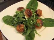 Seared Scallops over a Baby Arugula Salad