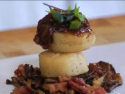 Seared Scallops with Wild Mushrooms, Tomato Jam snd Grilled Corn