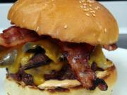 Bacon Portabella Burger on Homemade Brioche Buns