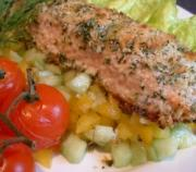 Include salmon in the diet for high cholesterol patients.
