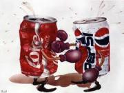 Cola war between Diet coke and Pepsi.