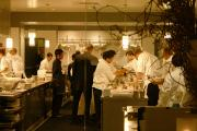 the buzy kitchen at one of the top restaurants in Chicago - Alinea