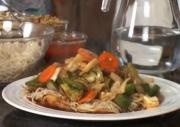 Pan Fried Noodles Topped with Saucy Vegetables