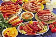 Sausage is prepared by mixing pounded meat, herbs, spices and salt.