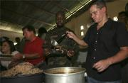 Here Matt Damon is serving charity meal during Haiti earthquake but soon he is going to cook-off on TV