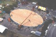 The world's largest pizza being made in rome.