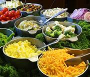 A fresh salad bar at home