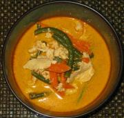 Leftover red curry that can be stored and eaten later