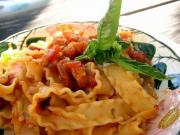 Fettuccine with Mushrooms In A Creamy Tomato Sauce