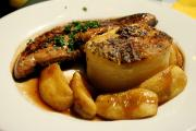 Foie de Voie or Calf's liver, served with apple fritters and baked potatoes