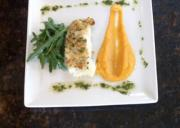 Baked Parsley Crusted Cod Fillet with Yam and Butternut Puree
