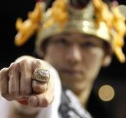 Kobayashi shows off the Super Bowl ring