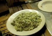 Sausage and Pesto Fettuccine