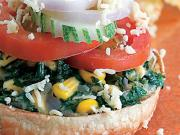 Spinach and Corn Open Burger by Tarla Dalal