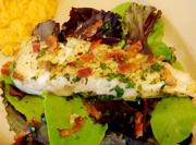 Seared Halibut With Warm Bacon Dressing