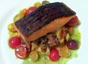 Seared Crisp Skin Wild Salmon On A Potato And Chanterelle Mushroom Hash With A Tomato Citronette