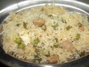 Paneer, Matar, Potato, Beans And Soybean Pulao