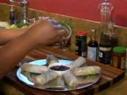 Super Bowl Recipe 2- Veggie Spring Rolls with Sweet Ginger Sesame Sauce (Cooking with Carolyn)